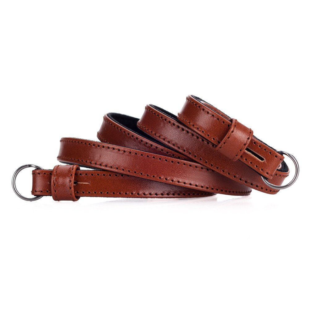 Leather strap, ecological tained cognac
