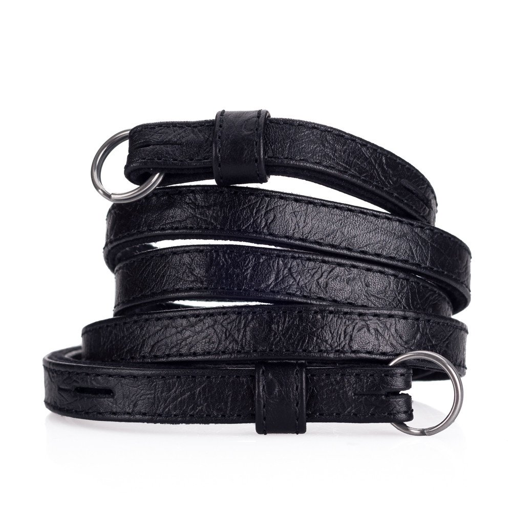 Leather strap, ostrich look black